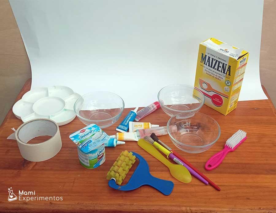Materiales necesarios para hacer pintura de yogur para bebés