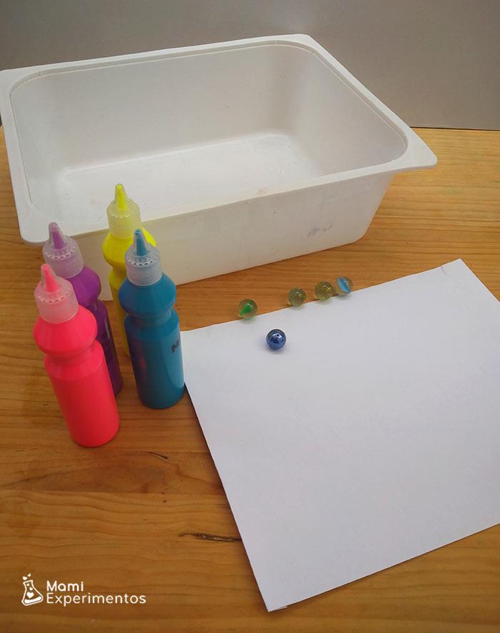 Materiales necesarios para pintar con canicas