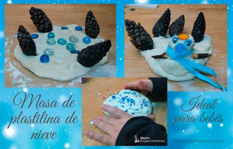 Actividad sensorial masa de nieve para bebés