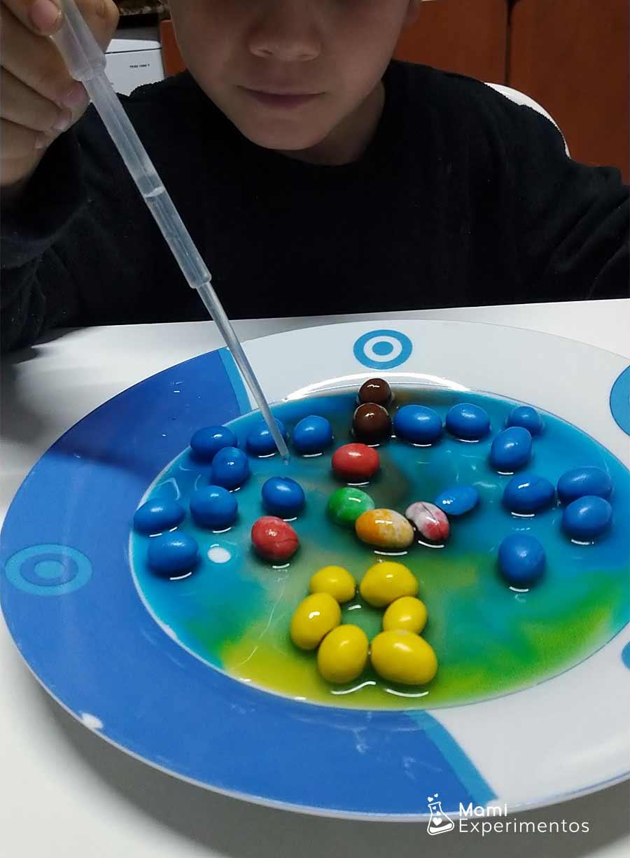 Agua con pipeta en caramelos de colores y decoración navidad