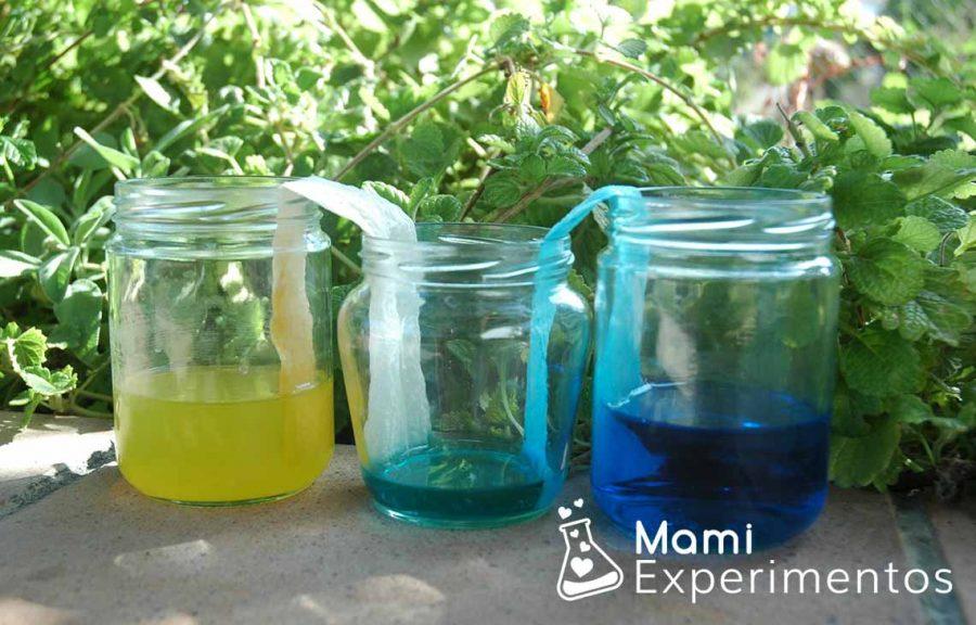 Experimento científico de agua que camina
