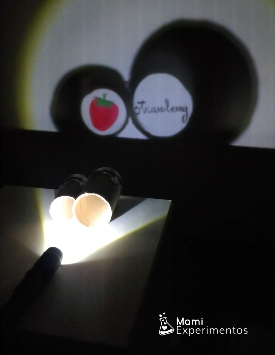 Aprendo palabras en inglés proyector de luces y sombras casero