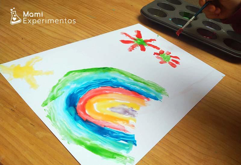 Arco iris con pintura de leche condensada
