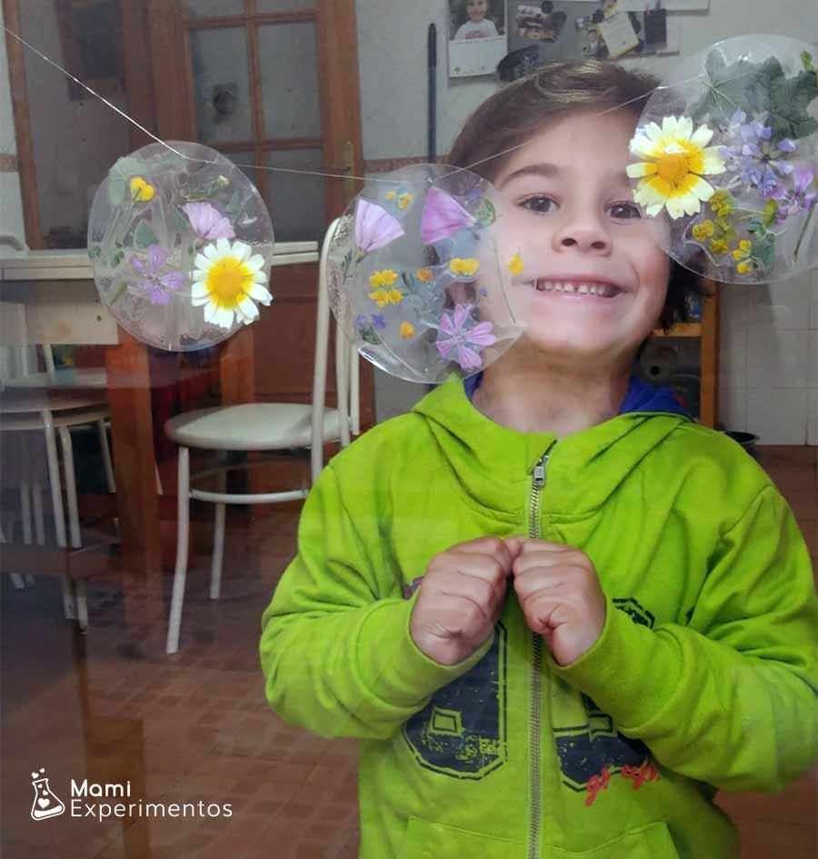 Atrapasol con flores reales decorando ventanal