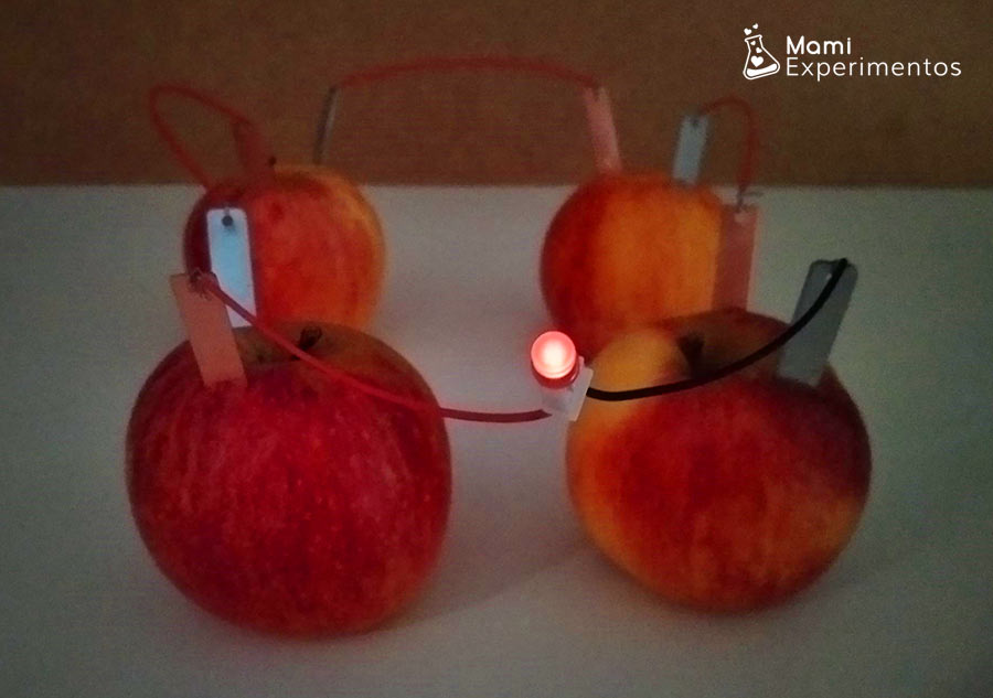 Bombilla encendida circuido eléctrico con manzanas