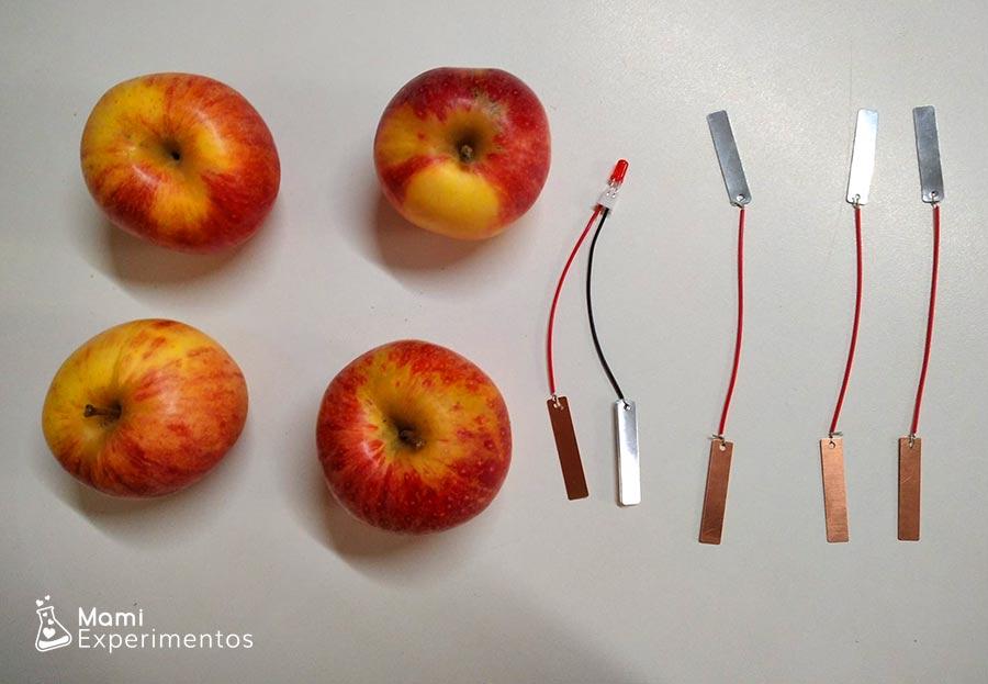 Cables preparados con cobre y cinc circuito con manzanas