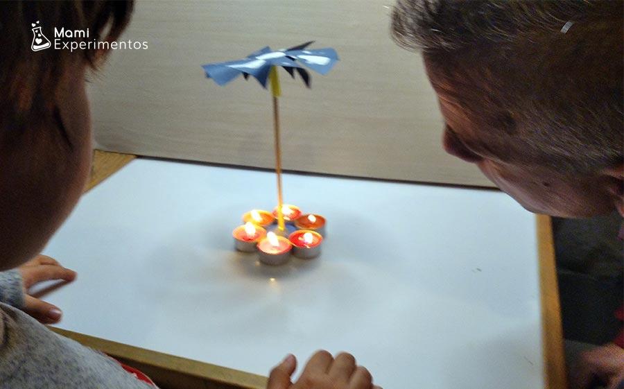 Ciencia del molino de la paz movido por aire caliente