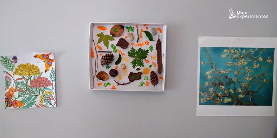 Collage de otoño en tapa de caja de zapatos
