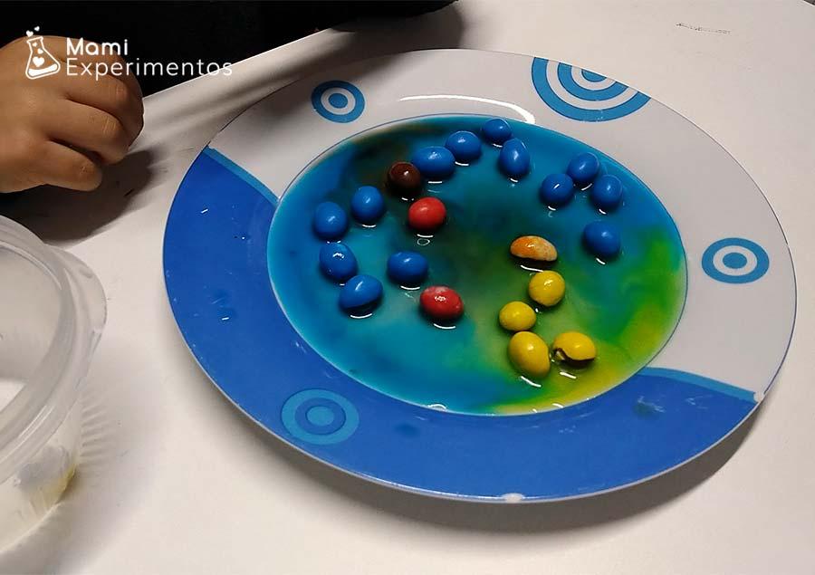 Colores tomando camino en creación navideña con caramelos de colores