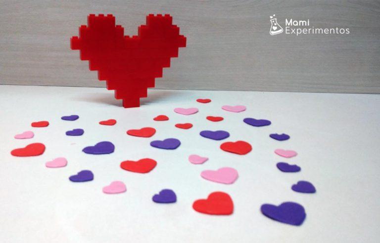 Corazón amor y amistad con piezas lego