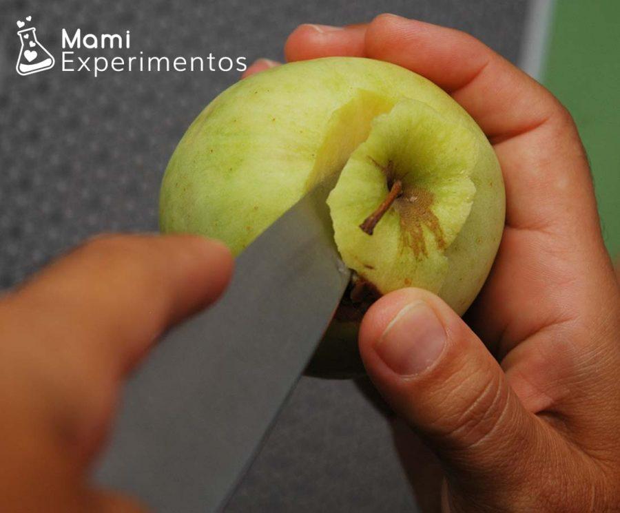 Preparando la manzana para el volcán