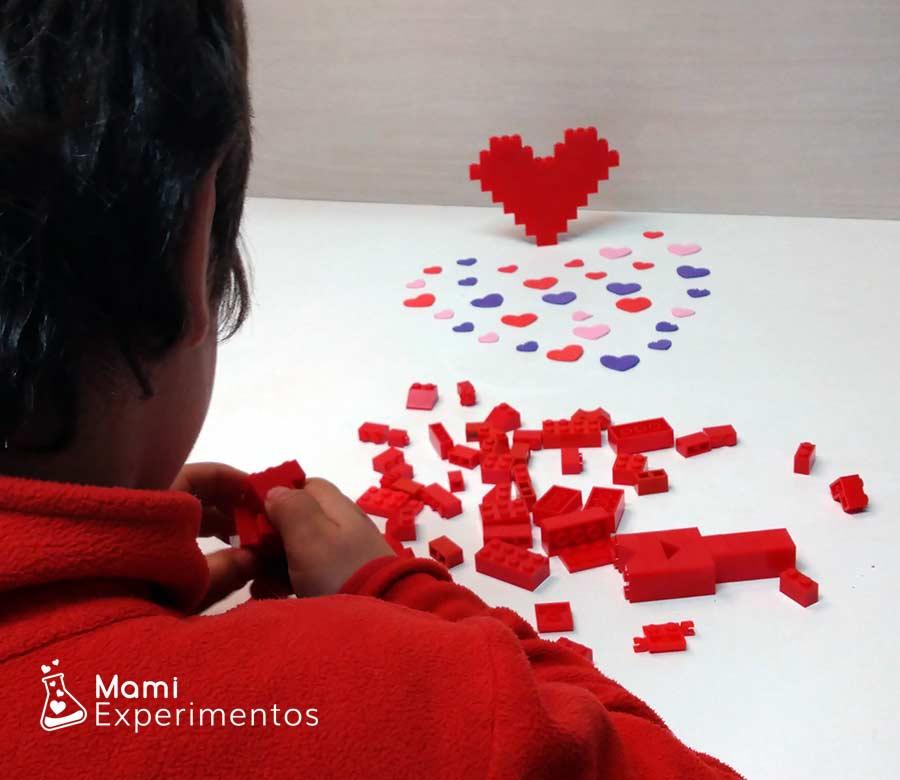 Crear corazones de diferentes tamaños con piezas lego