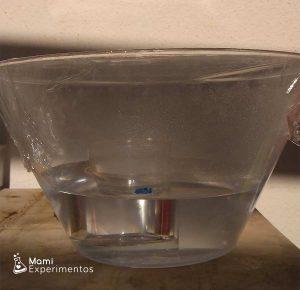 Demostración ciclo del agua en recipiente