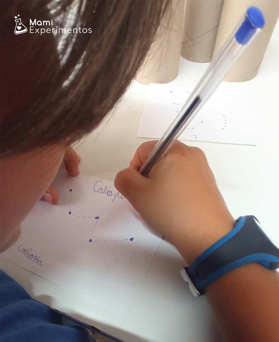 Dibujando constelaciones en un folio