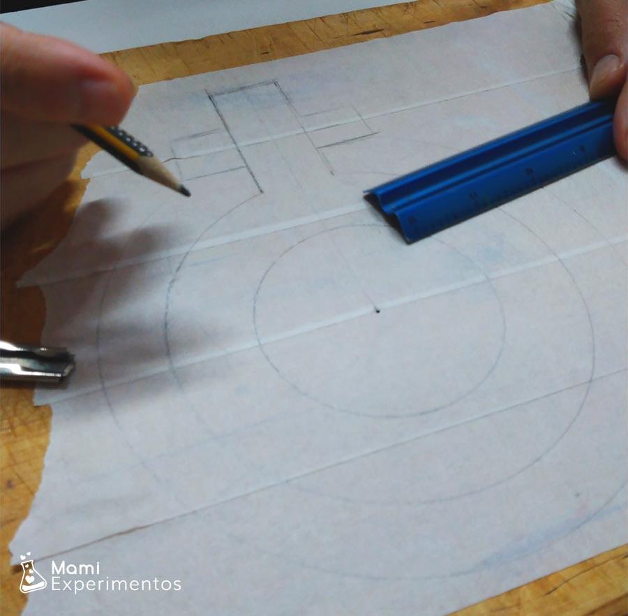 Dibujando símbolo en cinta carrocero para arte en el día de la mujer