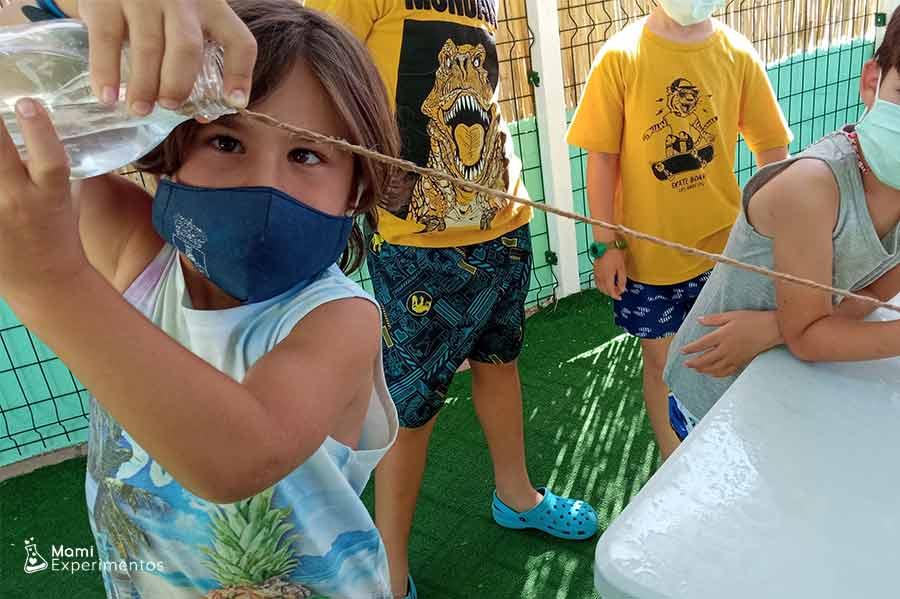 El agua viajando por la cuerda taller de verano