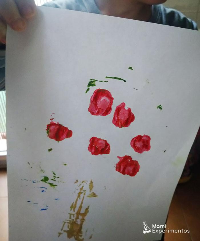 Resultado estampar con la mesa de luz dibujo primavera