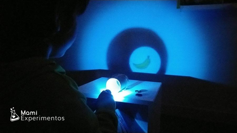Experimentar con luces y sombras las frutas con luz color azul