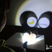 Experimento ciencia con proyector de sombras y luces