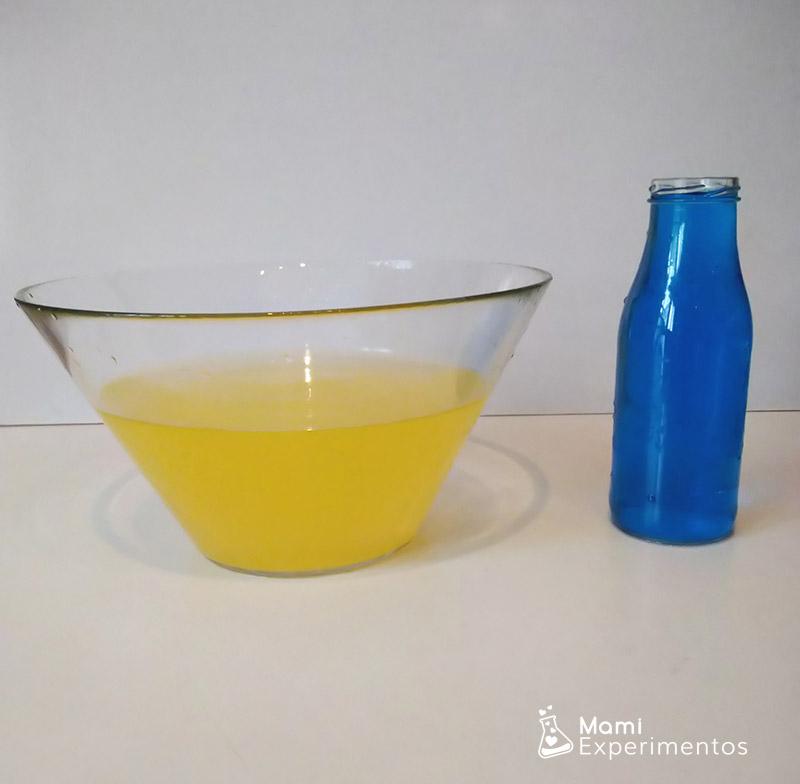 Experimento colores primarios azul y amarillo