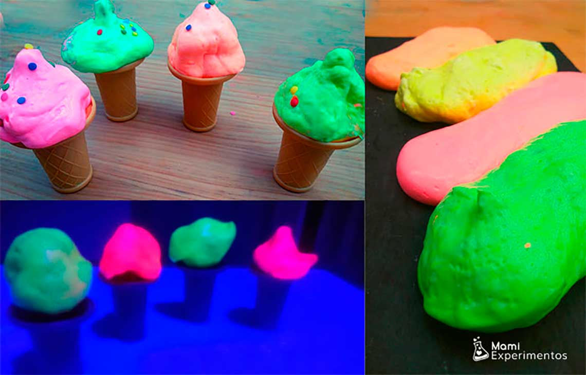 Slimes de helados fluorescentes que brillan con luz negra