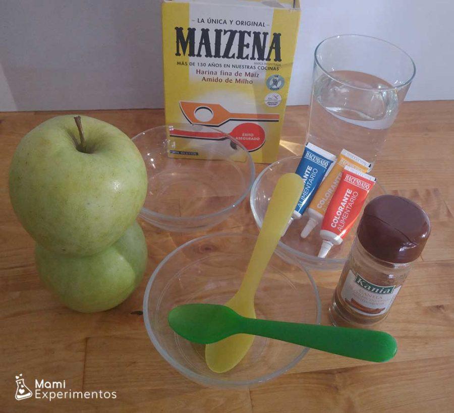 Ingredientes necesarios para hacer un slime casero con manzanas