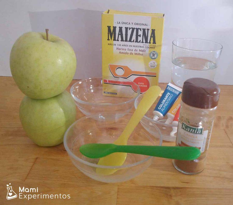 Ingredientes para realizar nuestra pintura de manzana