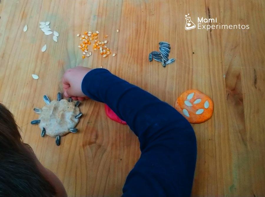 Jugando con semillas de girasol y plastilina casera perfumada de otoño