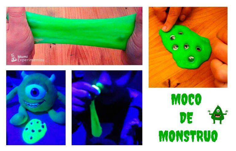 Jugar con slime moco de monstruo halloween y luz negra