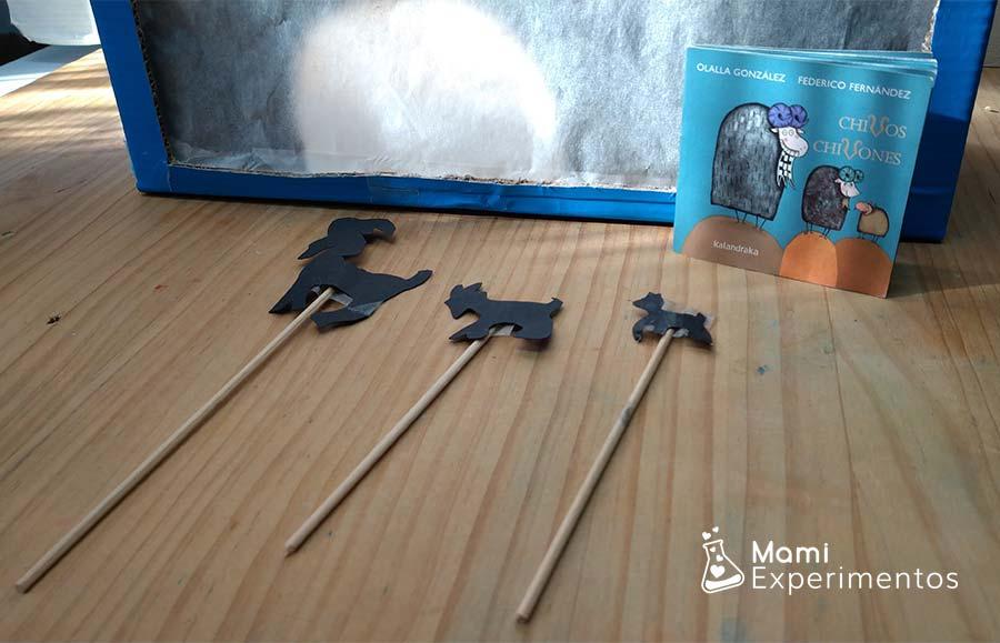 Marionetas del cuento chivos chivones para teatro de sombras en el día del libro