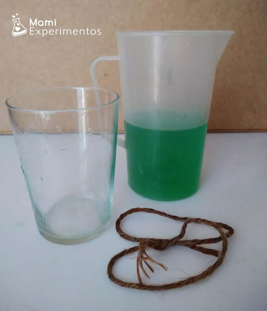 Materiales necesarios experimento agua viajera