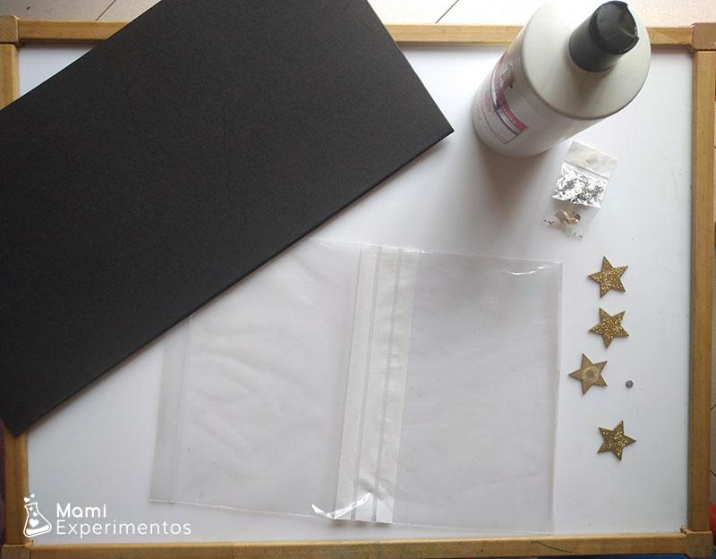 Materiales necesarios para hacer una bolsa sensorial galáctica
