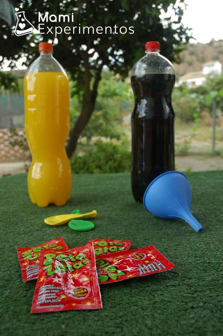 Materiales necesarios para el experimento con petazetas