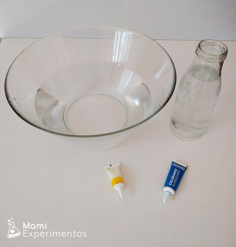Materiales necesarios experimento mezclando colores primarios