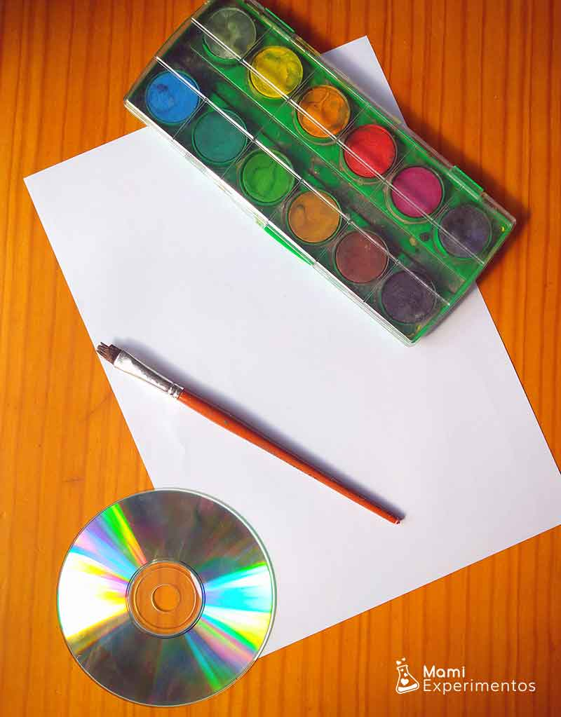 Materiales necesarios arco iris con un cd