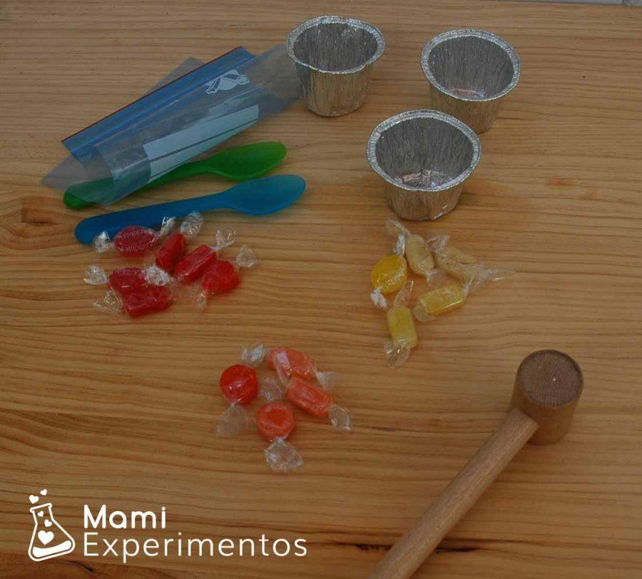 Materiales necesarios para crear rosas sedimentarias de caramelo