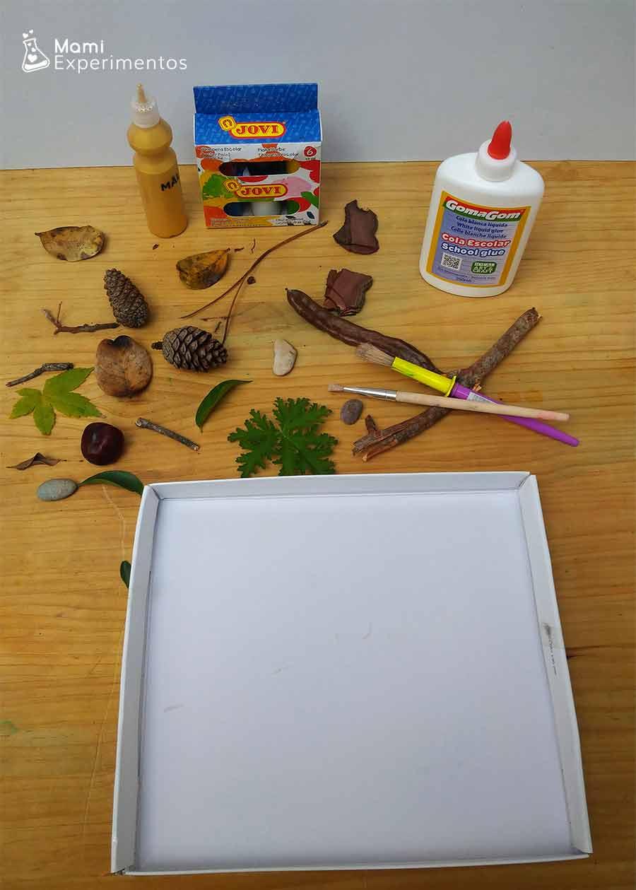 Materiales necesarios arte de otoño en tapa de cartón