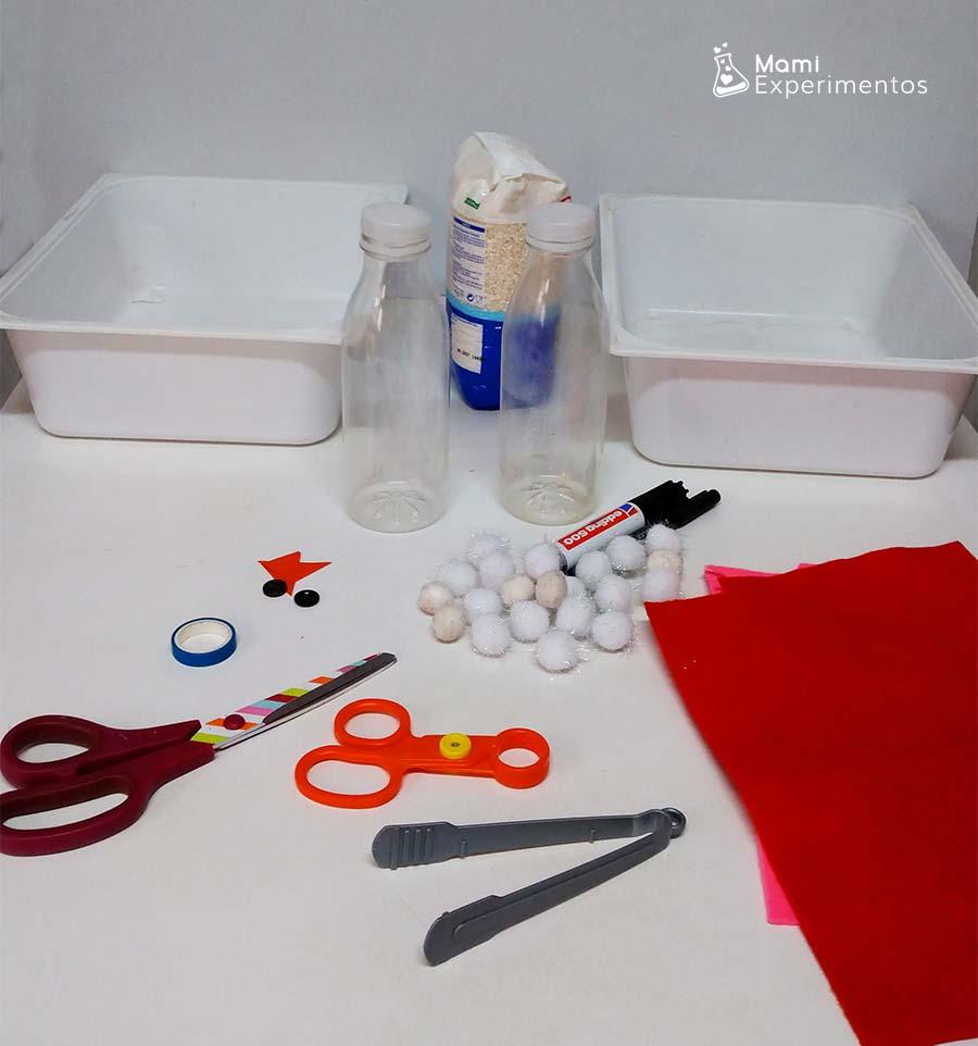 Materiales necesarios para hacer botellas sensoriales de muñecos de nieve