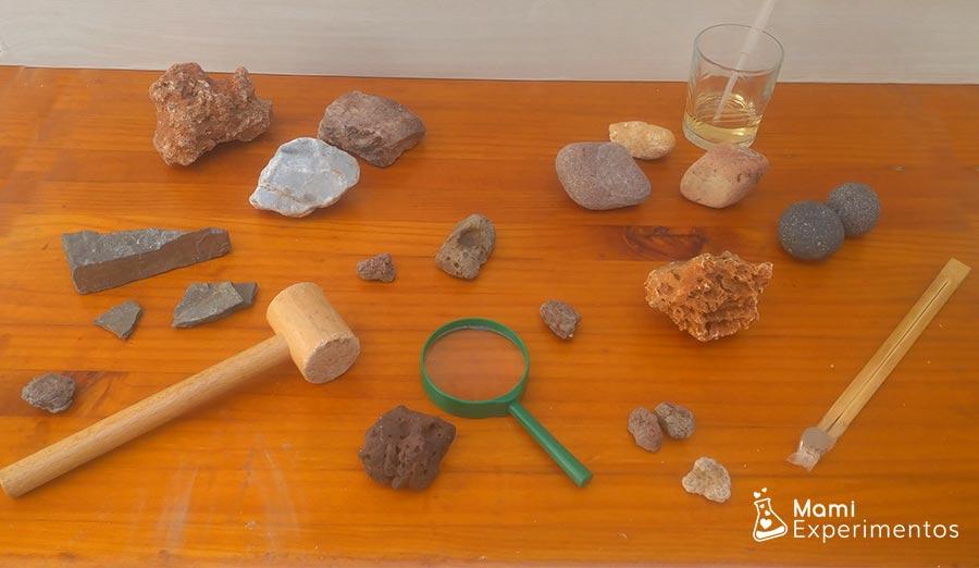 Materiales necesarios centro de experimentación y exploración de rocas
