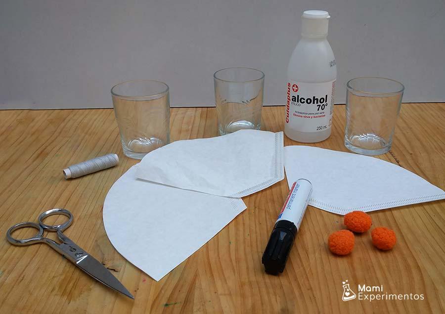 Materiales necesarios para la cromatografía fantasmal