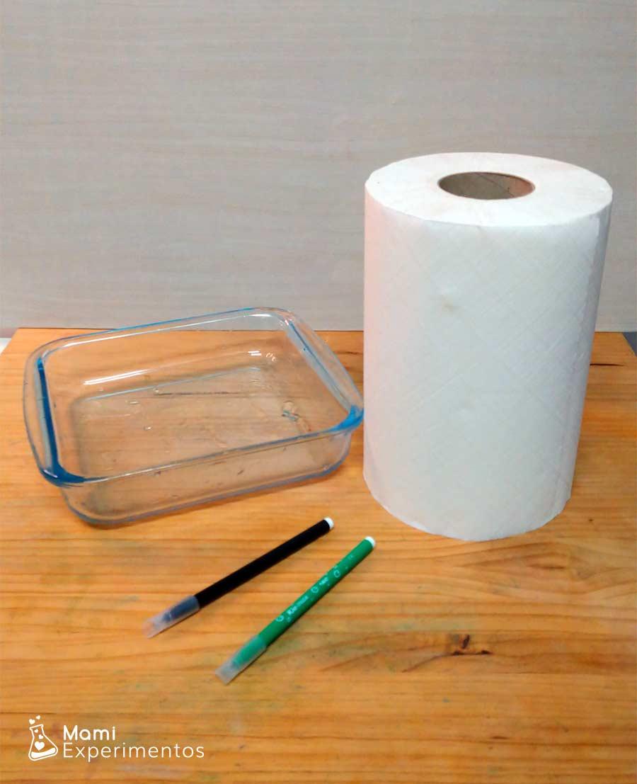Materiales necesarios trebol mágico con papel de cocina y agua