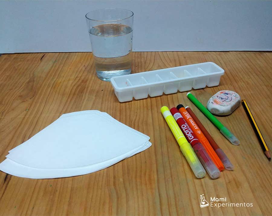 Materiales necesarios experimento absorción hojas de otoño con filtros de café