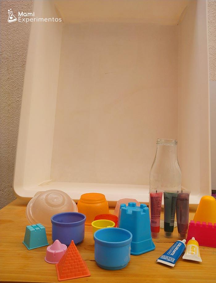 Materiales necesarios para preparar el juego de los hielos de colores