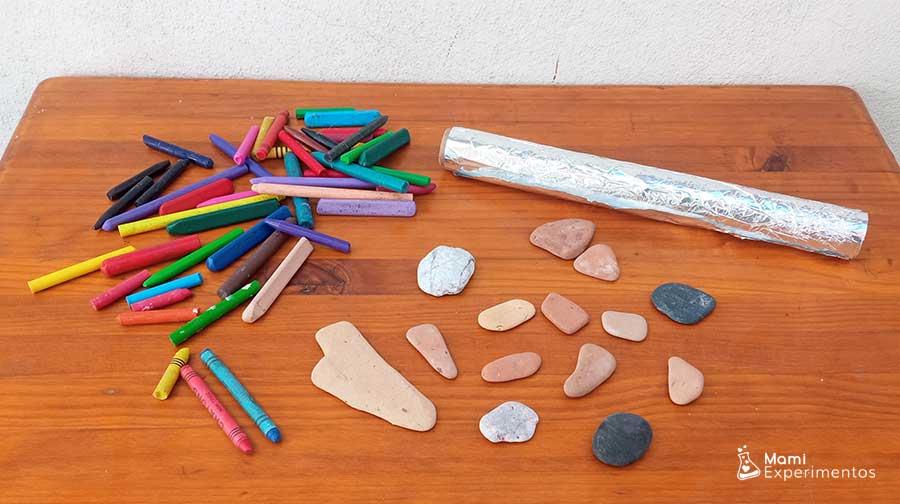Materiales necesarios para crear arte en piedras calientes con ceras