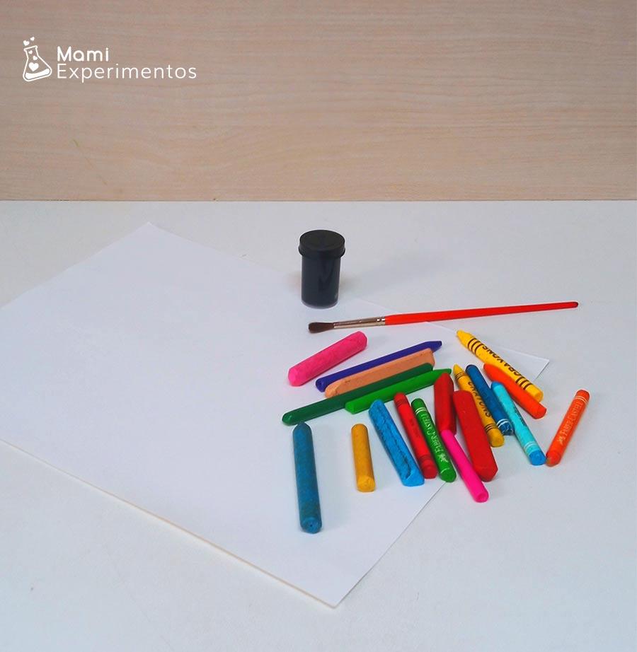 Materiales necesarios para creación artística con raspado en el día de las familias