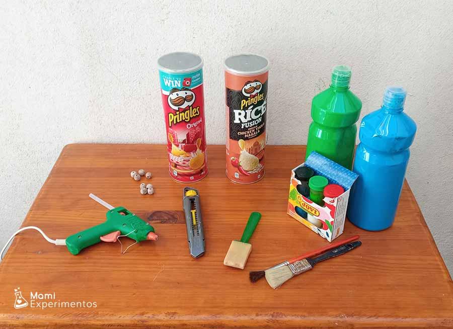 Materiales necesarios para crear amplificador con botes pringles