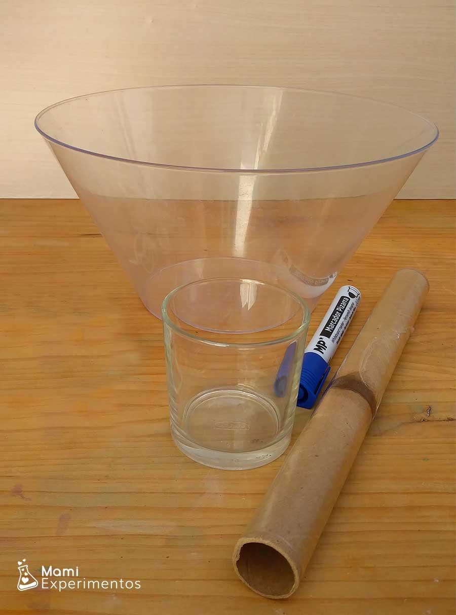 Materiales necesarios para crear ciclo del agua en recipiente