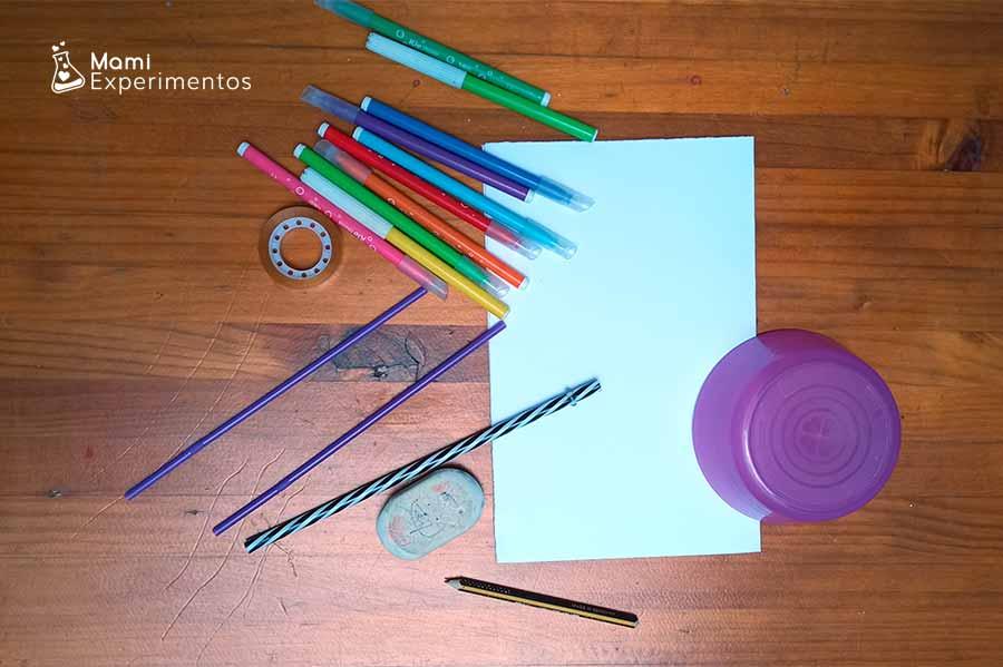 Materiales necesarios para crear juguetes de ilusiones ópticas sobre verano