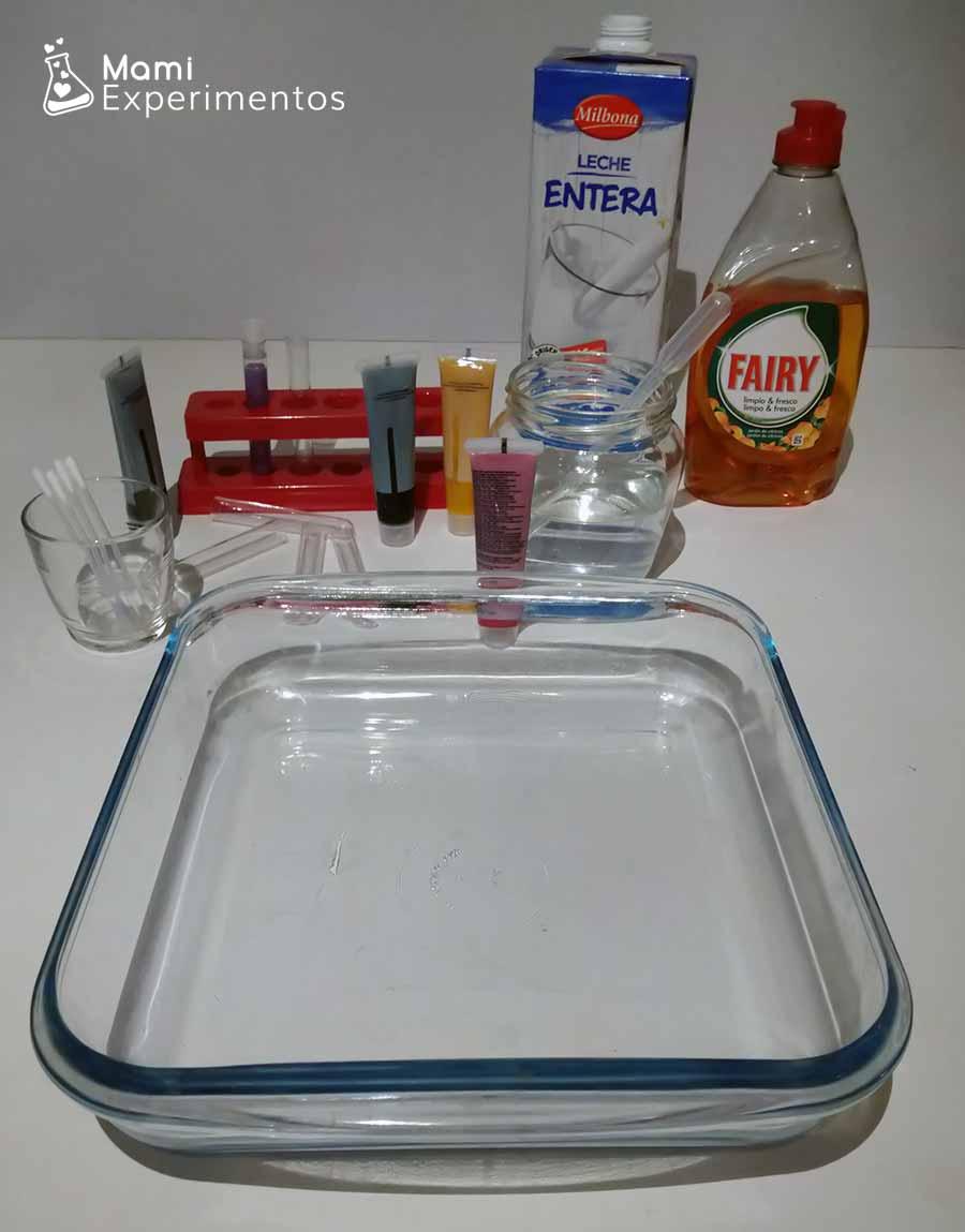 Materiales necesarios para estallido de colores en la leche