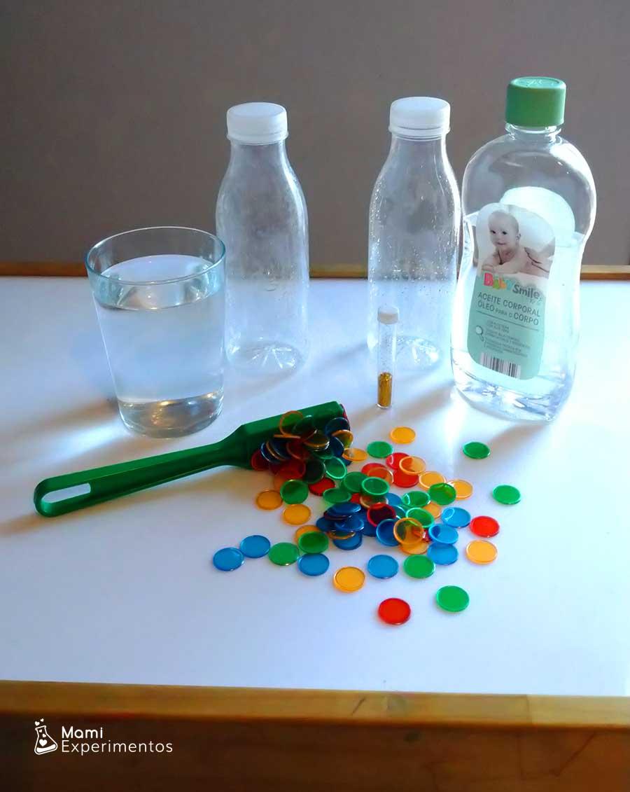 Materiales necesarios para hacer botellas sensoriales magnéticas